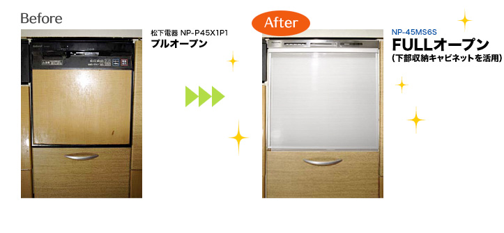 Before 松下電器 NP-P45X1P1:プルオープンから、After   NP-45MS6S:FULLオープン(下部収納キャビネットを活用)へ!