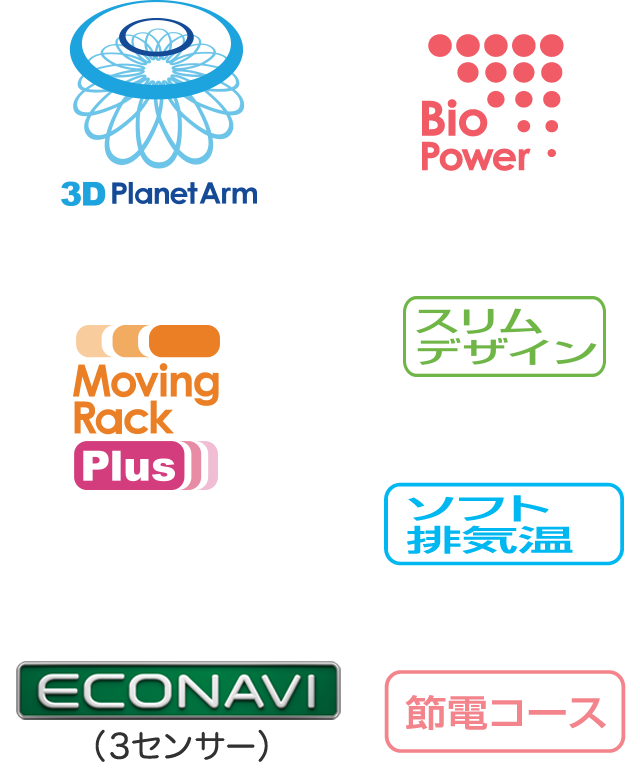 3D Planet Arm、Moving Rack Plus™、ECONAVI(3センサー)、節電コース、Bio Power、ソフト排気温、スリムデザイン