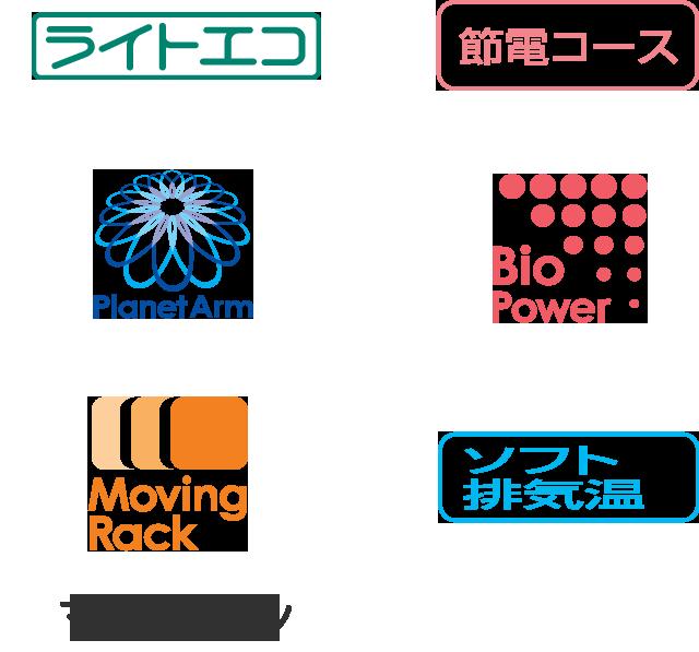 Moving Rack、ライトECO、節電コース、Planet Arm、Bio Power、ソフト排気温、マルチピン