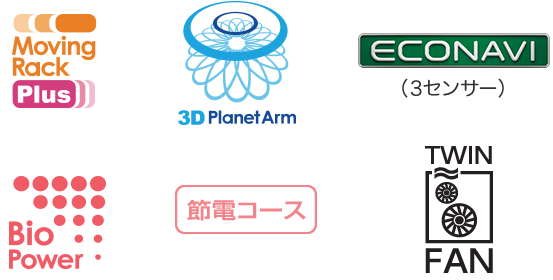 Moving Rack Plus™、3D Planet Arm、TWIN FAN、ECONAVI(3センサー)、節電コース、Bio Power