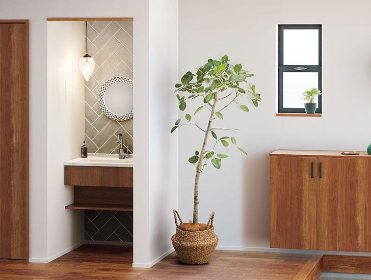 帰宅時の手洗いに玄関まわりのお掃除に便利な玄関洗面プラン