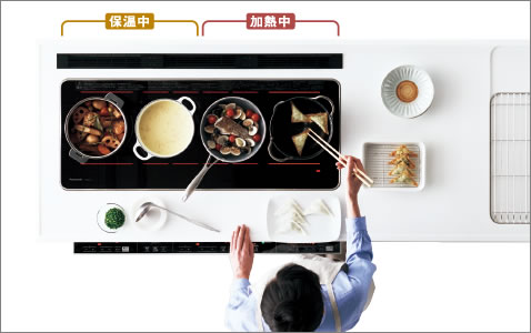 保温スペースを確保できるので、鍋の置き換えが減少。でき上がりを揃えられて、アツアツ料理を食卓へ。