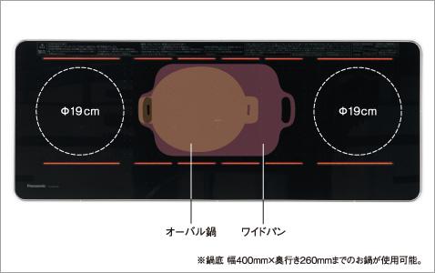 これまでのIHでは、はみ出していたサイズのお鍋でも、中央のヒーターはお鍋の大きさに合わせて、加熱範囲が変えられ、ムラなく加熱できます。
