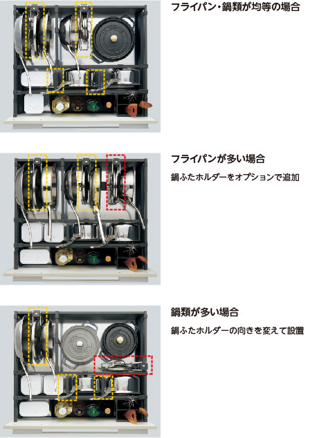 収納パーツの位置・向きを変えられるから収納の種類・量に応じて収納できる