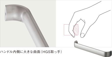 ハンドル内側に大きな曲面(HGS取っ手)