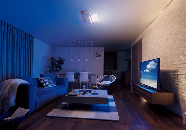 パネル光1枚だけを点灯し、テレビ方向の壁を照らすと画面に集中できる環境に。